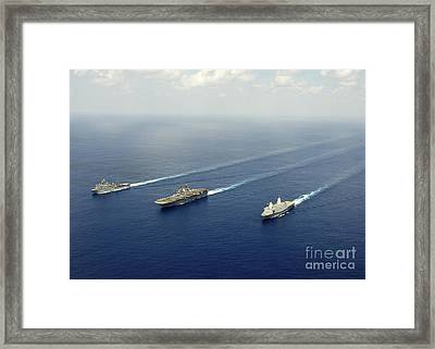 Uss Pearl Harbor, Uss Makin Island Framed Print by Stocktrek Images