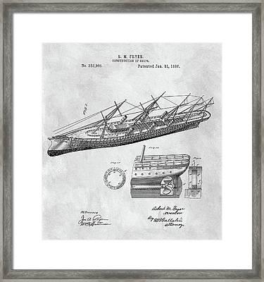 Uss Pocahontas Ship Illustration Framed Print by Dan Sproul