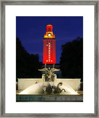 Ut Austin Tower Orange Framed Print by Lisa  Spencer