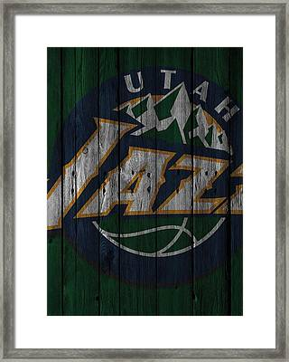 Utah Jazz Wood Fence Framed Print by Joe Hamilton