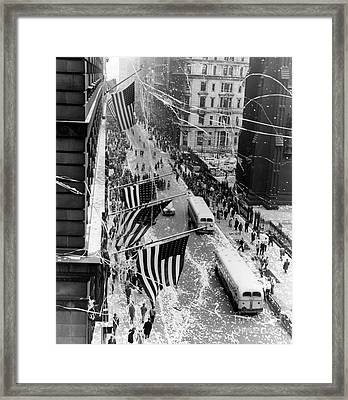 V-e Day In Nyc. Ticker Tape Parade At The Corner Of Broadway And Wall Street. 1945 Framed Print by Barney Stein