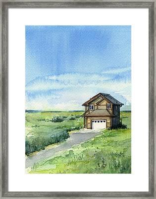 Vacation House In A Field - Watercolor - Long Beach, Wa Framed Print by Olga Shvartsur