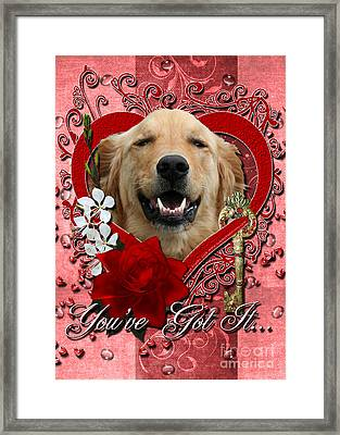 Valentines - Key To My Heart Golden Retriever Framed Print by Renae Laughner