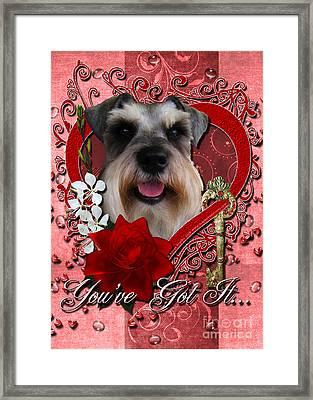 Valentines - Key To My Heart Schnauzer Framed Print by Renae Laughner