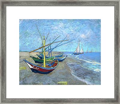 Van Gogh Fishing Boats Saintes Maries Framed Print by Vincent Van Gogh