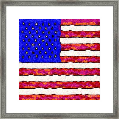Van Gogh.s Starry American Flag . Square Framed Print by Wingsdomain Art and Photography