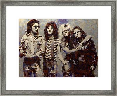 Van Halens Classic Early Lineup Framed Print by Aaron Stokes