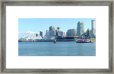 Vancouver Bc Waterfront Skyline Panorama. Framed Print by Gino Rigucci