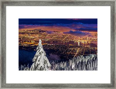 Vancouver City Twilight From Grouse Mountain Framed Print by Pierre Leclerc Photography