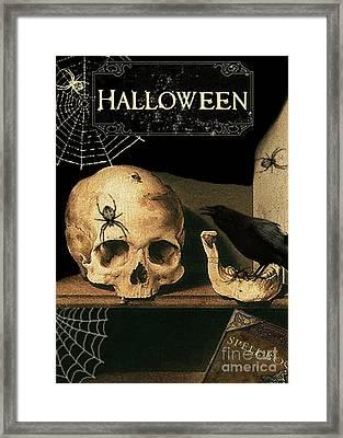 Vanitas Skull And Raven Framed Print by Striped Stockings Studio