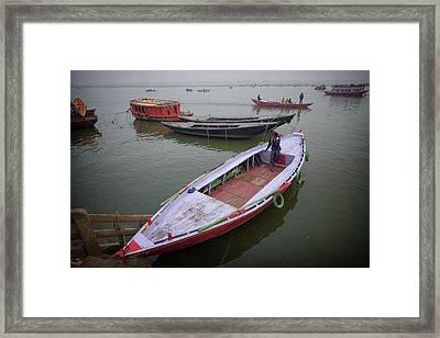 Varanasi Boats On Ganges Framed Print by David Longstreath