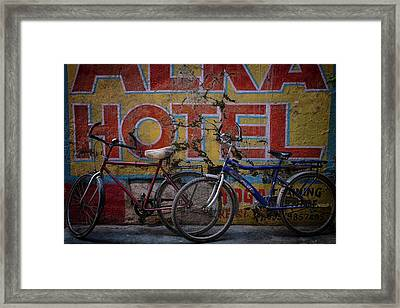 Varanasi Hotel Bicycles Framed Print by David Longstreath
