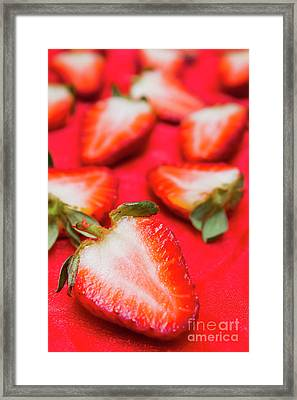 Various Sliced Strawberries Close Up Framed Print by Jorgo Photography - Wall Art Gallery
