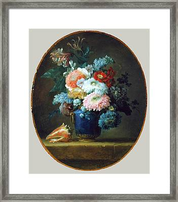 Vase Of Flowers And Conch Shell Framed Print by MotionAge Designs
