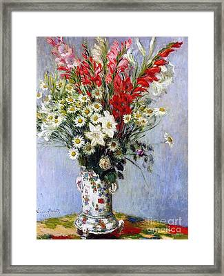 Vase Of Flowers Framed Print by Claude Monet