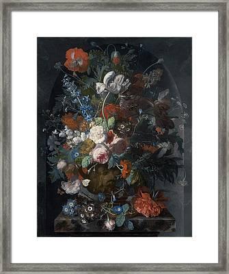 Vase Of Flowers In A Niche Framed Print by Jan van