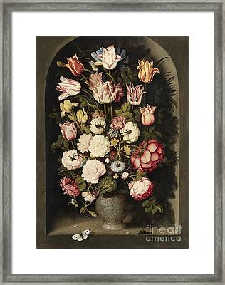 Vase Of Flowers In A Stone Niche Framed Print by Celestial Images