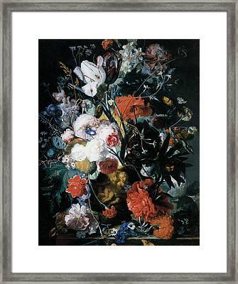 Vase Of Flowers Framed Print by Jan Van Huysum