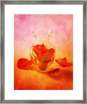Vase Of Roses Still Life Framed Print by Tom Mc Nemar
