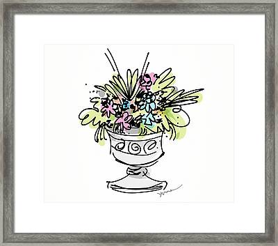 Vase With Flowers Framed Print by Yvonne Wright