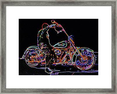 Vato N' Harley Aglow Framed Print by Kimberley Joy Ferren