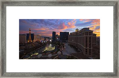 Vegas By Night Framed Print by Chad Dutson
