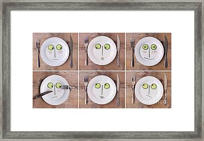 Vegetable Faces Framed Print by Nailia Schwarz