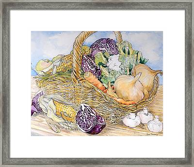 Vegetables In A Basket Framed Print by Joan Thewsey