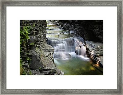 Veils Of Enfield Glen Framed Print by Gary Yost
