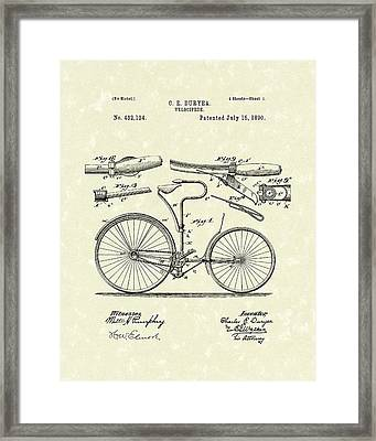 Velocipede 1890 Patent Art Framed Print by Prior Art Design