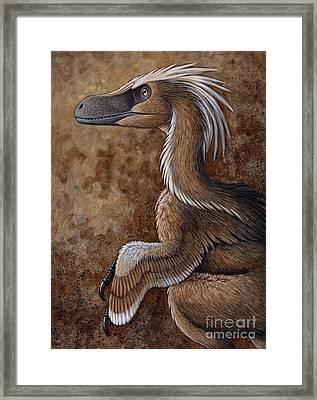 Velociraptor, A Dromaeosaurid Dinosaur Framed Print by H. Kyoht Luterman