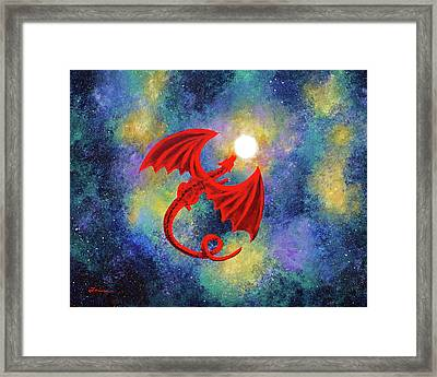 Velvet Red Dragon In Cosmic Moonlight Framed Print by Laura Iverson