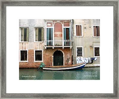 Venice Boat And Laundry Framed Print by Italian Art