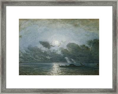 Venice By Moonlight Framed Print by Felix Ziem