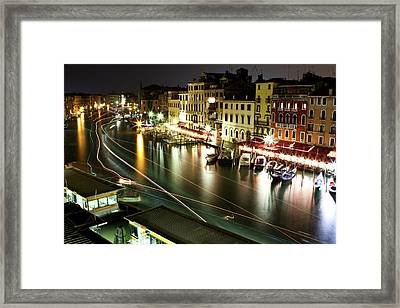 Venice Canal At Night Framed Print by Patrick English