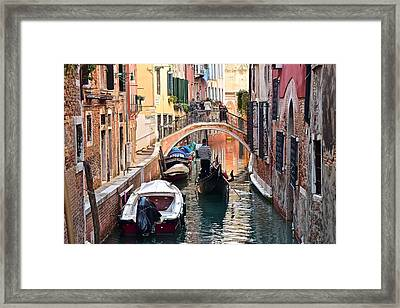 Venice Gondolier Framed Print by Frozen in Time Fine Art Photography