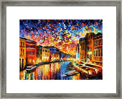 Venice - Grand Canal Framed Print by Leonid Afremov