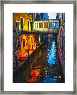 Venice Italy - Colorful Canal At Night Framed Print by Gregory Dyer