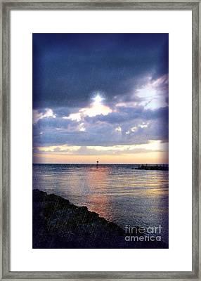 Venice Jetty At Dusk Framed Print by Sheryl Unwin