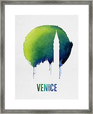 Venice Landmark Blue Framed Print by Naxart Studio