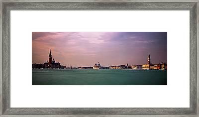 Venice Panorama At Dusk Framed Print by Andrew Soundarajan