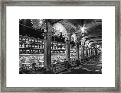 Venice St Mark's Square At Night Black And White Framed Print by Melanie Viola