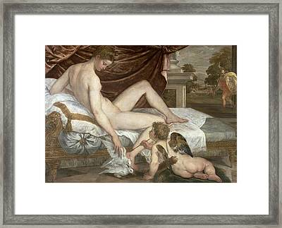 Venus And Cupid Framed Print by Lambert Sustris