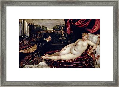 Venus And The Organist Framed Print by Titian
