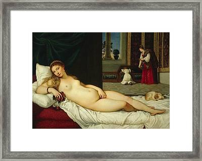 Venus Of Urbino  Framed Print by Titian