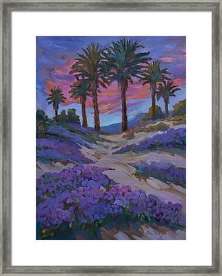 Verbena And Desert Sunrise Framed Print by Diane McClary