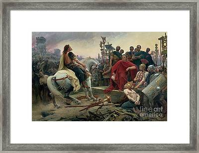 Vercingetorix Throws Down His Arms At The Feet Of Julius Caesar Framed Print by Lionel Noel Royer