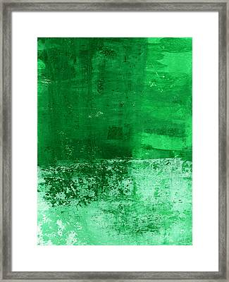 Verde-  Contemporary Abstract Art Framed Print by Linda Woods