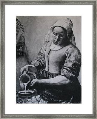 Vermeer's Milkmaid In Charcoal Framed Print by Art Nomad Sandra  Hansen