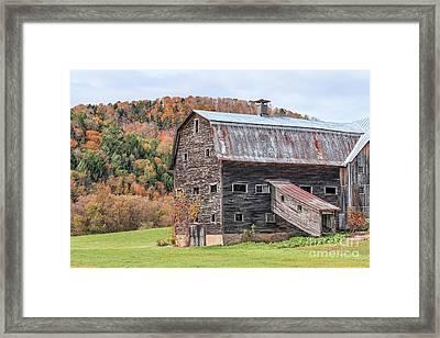Vermont Barn Autumn Framed Print by Edward Fielding